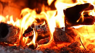 beautiful fire in the fireplace