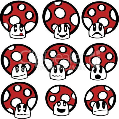 Mushroom emoticons.eps