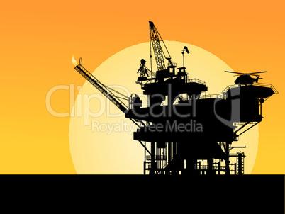 Oil platform silhouette.eps