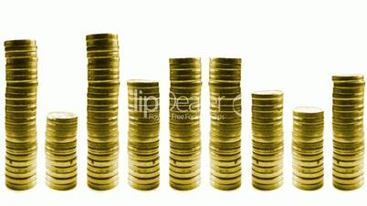 growing and reducing stacks of coins in line isolated on white. loop