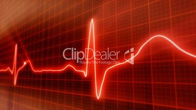 seamless loop red background EKG electrocardiogram pulse real waveform