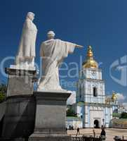 Monument to St. Olga and S. Andrew near the St. Michael`s Golden-Domed Monastery in Kiev, Ukraine