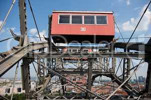 Gondola of ferris observation wheel in amusement park in Vienna