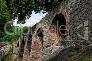 Red brick arches of medieval castle