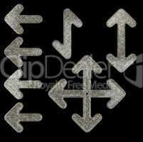 Granite textured arrows set isolated