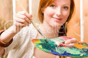 Portrait of color palette young woman background