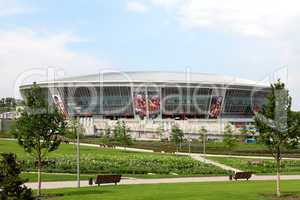 Football stadium in the background moving clouds. Donbass Arena.