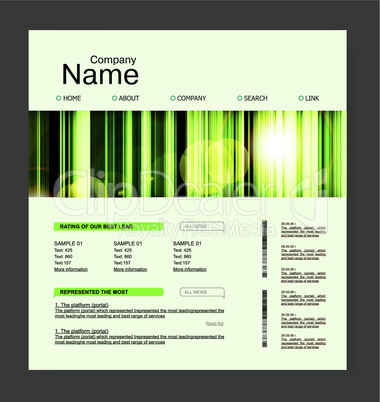 Website design template, in green, nature style.