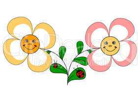 2 funny flowers and ladybugs