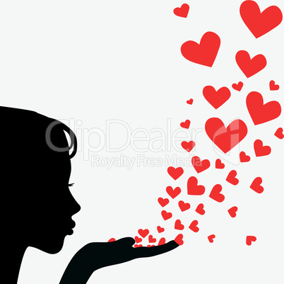 Profile woman face vector. Pretty girl blowing heart.