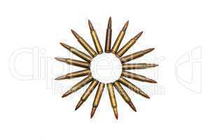 Many-pointed star of M16 cartridges isolated