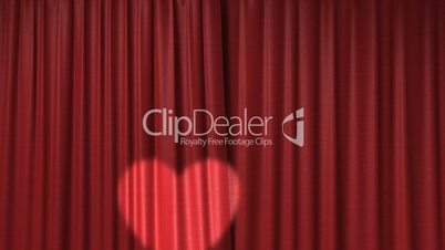 red curtain with spotlight heart shape