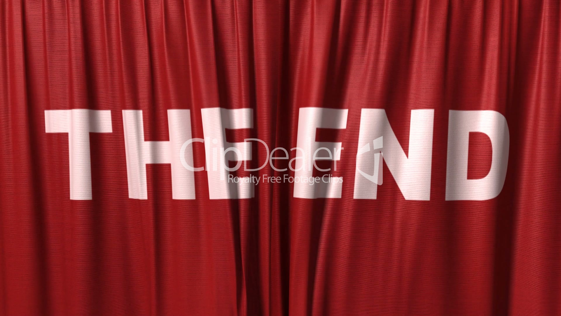 Closing Red Curtain With Title  U0026quot The End U0026quot   Royalty
