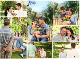 Collage of lovely couples enjoying a moment together in a park