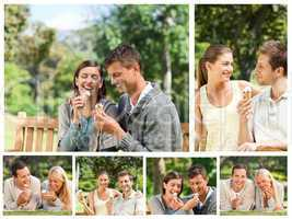 Collage of lovely couples eating ice creams in a park