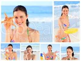 Collage of a pretty brunette woman enjoying the moment on a beac