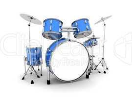 Schlagzeug Blau Silber - freigestellt 01