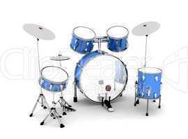 Schlagzeug Blau Silber - freigestellt 02