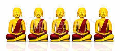 Five golden Buddhas on white - red