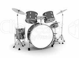 Schlagzeug Schwarz Silber - freigestellt 01
