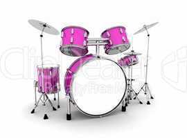 Schlagzeug Pink Silber - freigestellt 01
