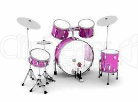 Schlagzeug Pink Silber - freigestellt 02