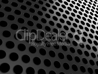 Close-up of black aluminum grill