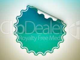 Seagreen round bent sticker or label