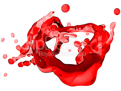 Splash of red wine with droplets isolated