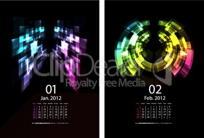 A Series Of Calendars Magic Light. January and February 2012