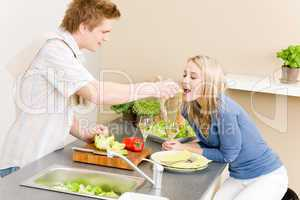 Lunch couple cook salad man feeding woman