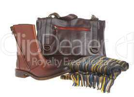 Man's brief case gloves and shoe
