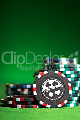 gambling chips with copy space