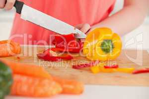 Young woman cutting some vegetables in the kitchen