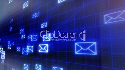 seamless loop background flying mails