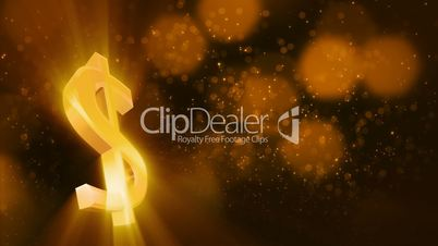 looping shiny dollar sign and golden dust
