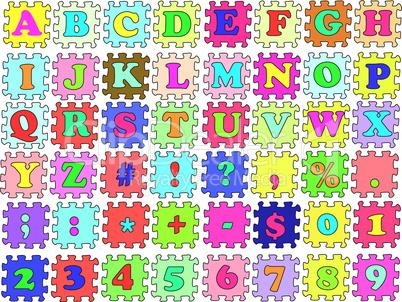 ABC vector puzzle color