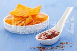 Salsadip und Nachos / salsa dip and nachos