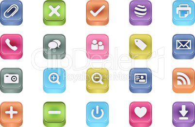 3d vector inset useful icon set