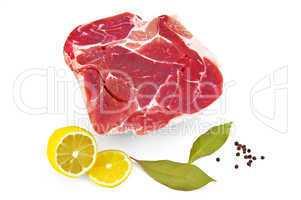 Pork with lemon and laurel  leaf