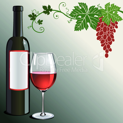 Glass of red wine with bottle and grapes on green