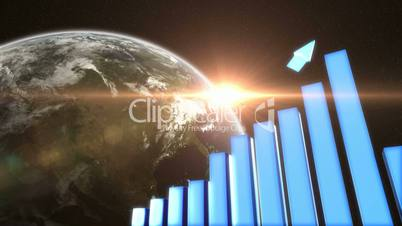Positive graph with the Sun rising over the Earth