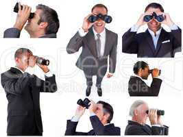 Collage of businessmen using binoculars
