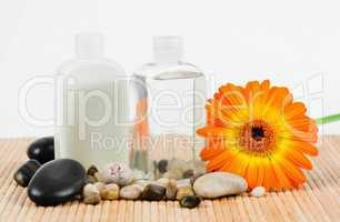 Sunflower with  round smooth pebbles and glass bottles