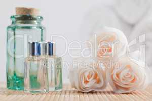 Roses and glass flasks