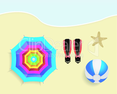 Beach with umbrella, ball, flippers and starfish vector illustration