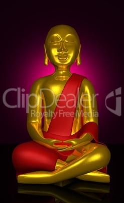 Buddha Wandbild Rot Gold