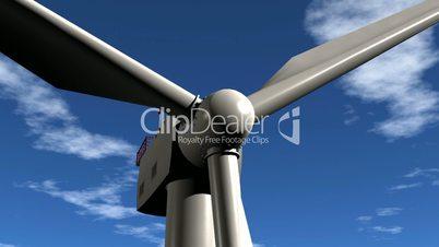 Wind Turbine Flight Into. Animation