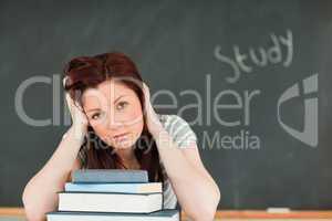 Beautiful young woman studying