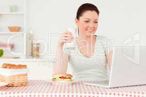 Smiling woman relaxing on her laptop while drinking a glass of m